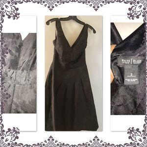 WHBM jacquard floral pattern black dress